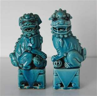 Pair of Chinese turquoise glazed Porcelain Foo Dogs
