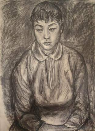 """""""Atsuko-San"""" Charcoal Drawing on Paper in Gilt Frame"""