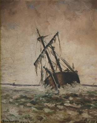 Seascape Oil Painting by Ben Burger 1883
