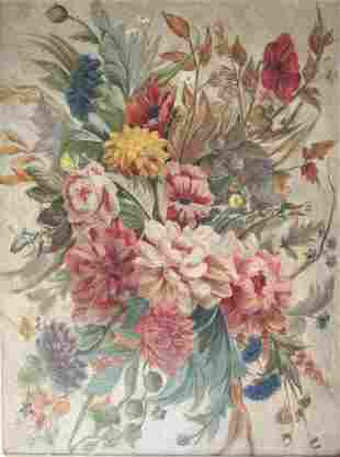 Floral and butterfly oil on canvas with period gilted
