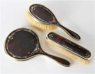 3pc English Tortoise shell & Sterling Silver Vanity Set