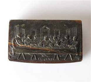 Italian Horn Snuff box  Carving of The Last Supper