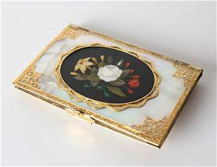 Stunning Gold mounted Mother of Pearl and Pietra Dura