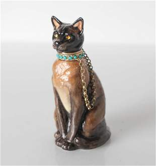 Halcyon Days Cat Figural Porcelain 9k Gold Scent Bottle