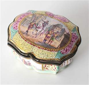 French Hand Painted Enamel on Copper Box, Joan of Arc