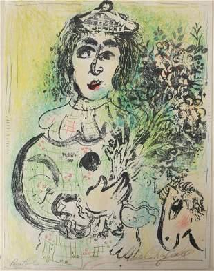 "Marc Chagall Lithograph in colors ""Le Clown Fleuri"""