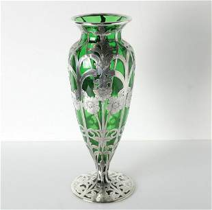 Fine Silver Overlay on green glass Vase, Elegant floral