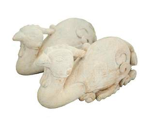 Pair of Large Carved White Stone Pheasant or Phoenix