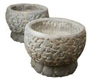 Pair of Hand Carved Dark Grey Stone Planters