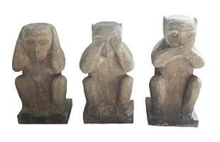 Hand Carved Stone Three Wise Monkey Statues, Garden Art