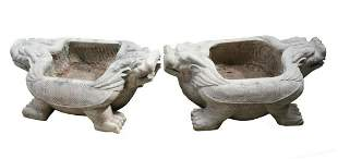 Pair of Large Hand Carved Grey Stone Turtle Basins or