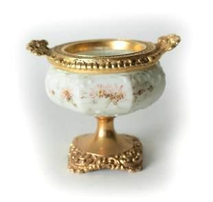 CF Monroe Gilt Brass mounted Art Glass Opalware Cabinet