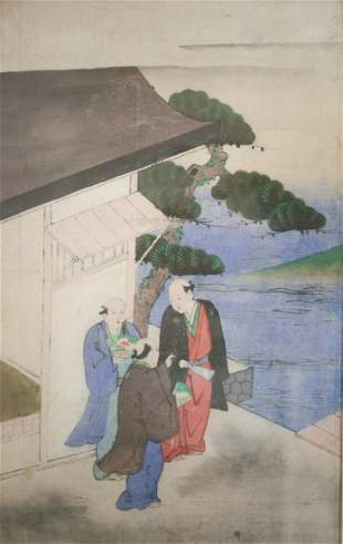 19th century Japanese Watercolor painting on rice paper