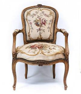 French Aubusson Embroidered Tapestry Fauteuil Chair