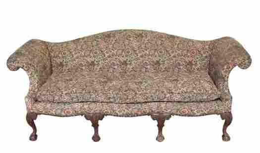 Kittenger Chippendale style Camel Back sofa