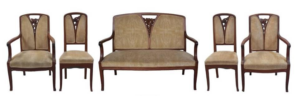 Marjorelle Art Nouveau Upholstered Seating Salon Suite