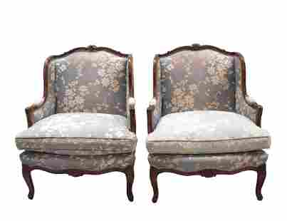Pair of Chintz Upholstered Bergere Arm Chairs