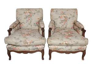 Pair of Martinique Upholstered Bergere Arm Chairs with