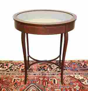 Oval mahogany bijouterie display side table with glass