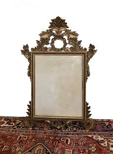 Continental Carved gilt wood Over-mantle or Wall mirror