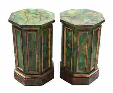 Faux Marble Painted Wood Pedestals