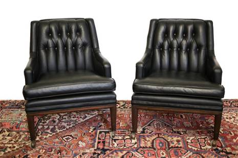 Pair Monteverdi -Young Leather Club Chairs