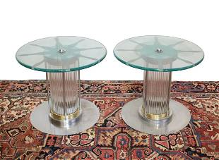 Vintage glass and metal Chrome mounted side tables