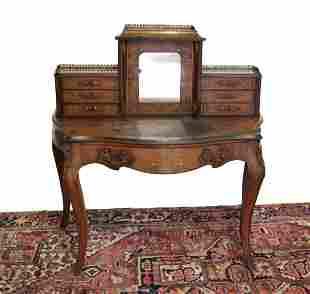 Continental Burl Walnut Ladies Writing Desk