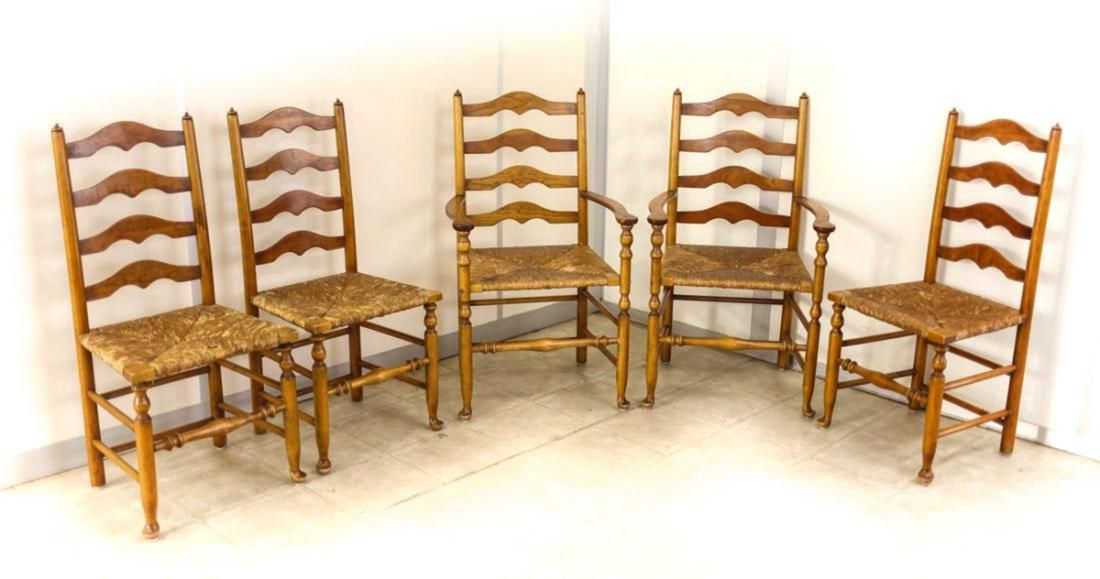 5 Stickley Favetteville Syracuse Ladder Back Chairs