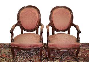 Pair of Upholstered Oval Back Fauteuil armchairs