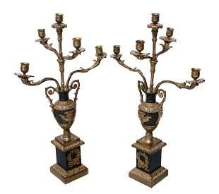 Pair of parcel gilt Bronze Candelabras