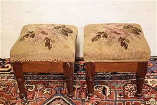 Pair of antique Upholstered foot stools