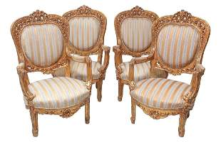 4 Gilt carved wood Rococo Revival Arm Chairs