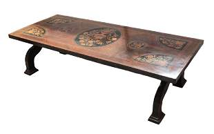 Large Italian Marquetry Inlaid Coffee Table