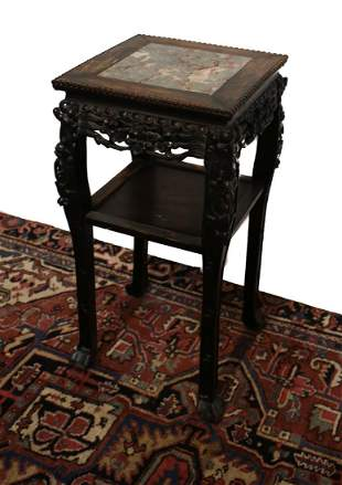 Chinese Dark wood side table pedestal plant stand