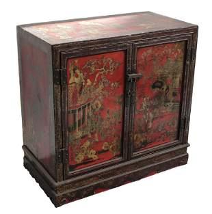 Chinese Coromandel Lacquer Cabinet with gilt scenes