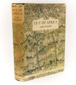 Isak Dineson 'Out of Africa.' Random House, 1938. 1st