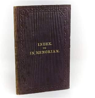 Lewis Carroll 'Index to In Memoriam'. Edward Moxon &
