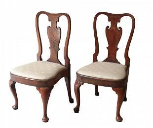 George II walnut and elmwood Side Chairs