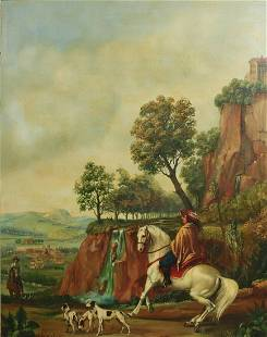 KG Signed Oil Painting on panel, Landscape with hunting