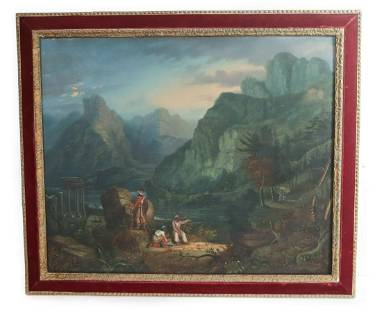 19th Century Oil Painting Wright Landscape moonlit