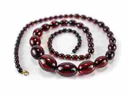 12k GF Cherry Red Amber Beaded Graduated Necklace, oval