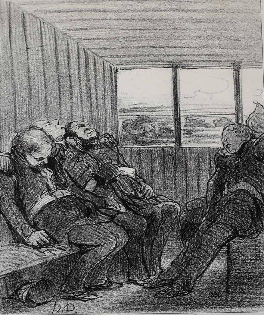 Daumier, Honore Lithograph, Le voyage, Le Charivari