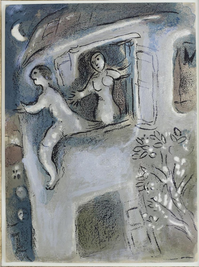 Chagall, Marc, Color Lithograph 'David Saved by