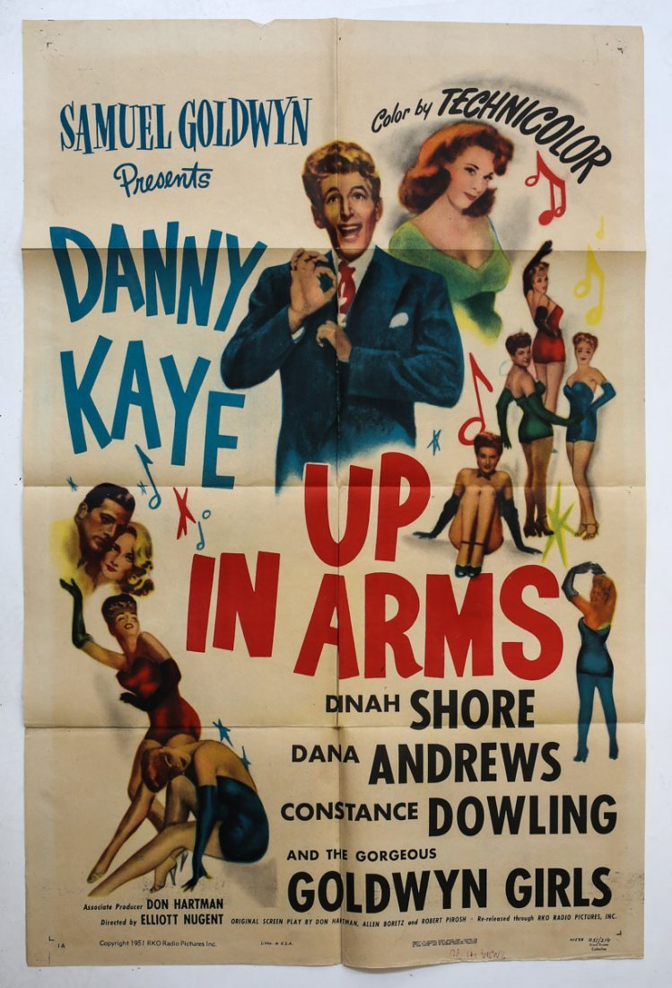 Movie Poster 'Up in Arms' Folded 1 Sheet Danny Kaye