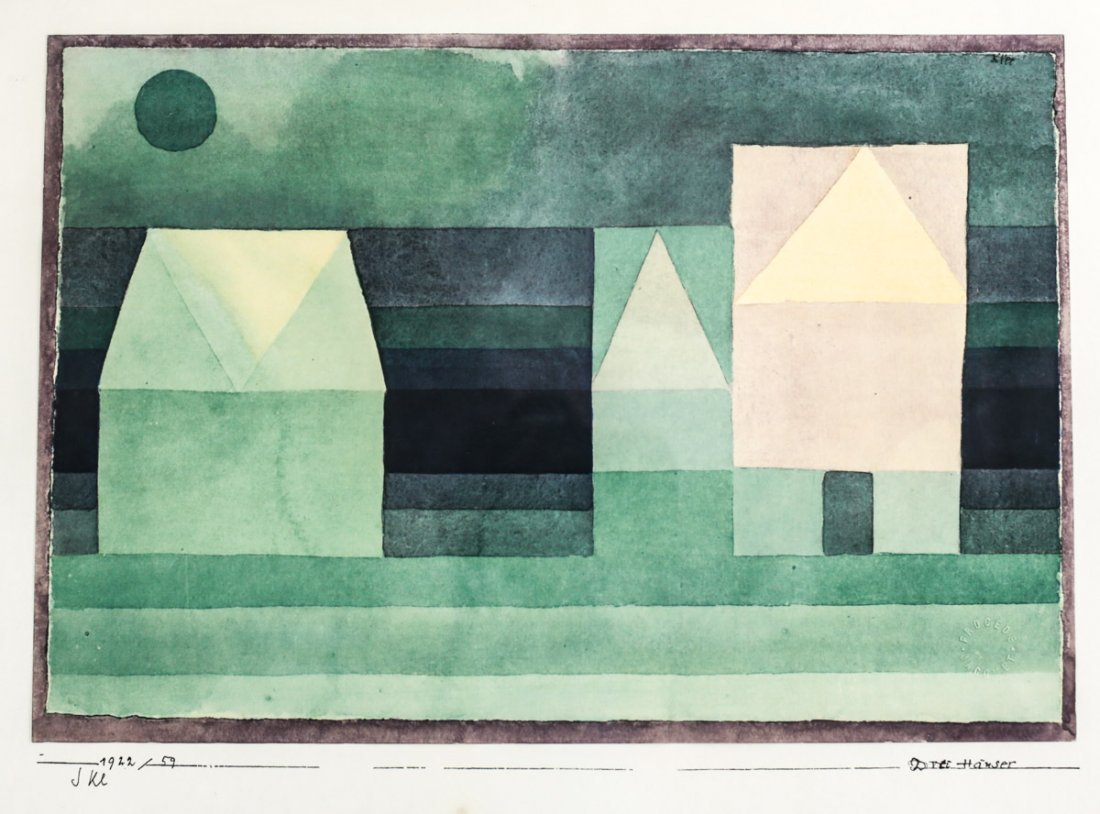 Klee, Paul Lithograph Three Houses 1922 Signed