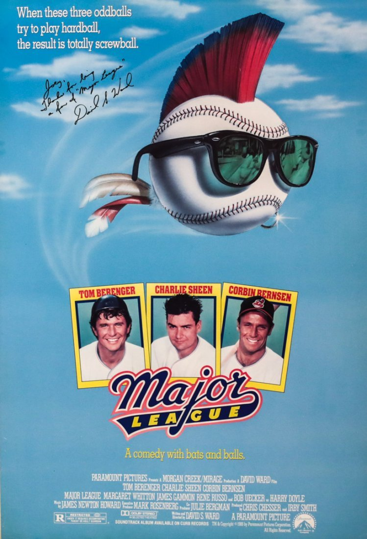 Theatrical Movie Poster Major League signed David Ward