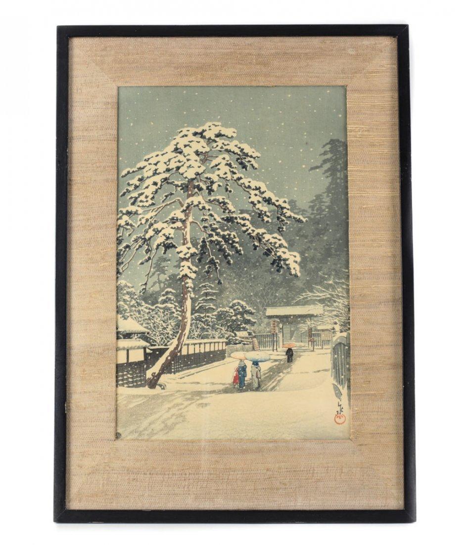 Hasui, Kawase Woodblock Print Honmon Temple - 2