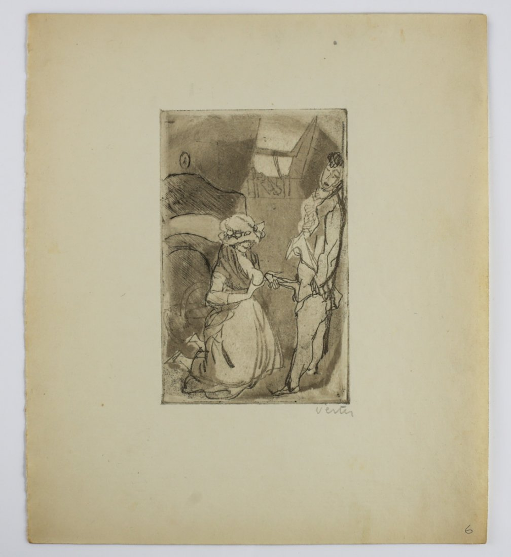 "Vertes, Marcel Erotic Etching, No. 6 ""Teacher"" Signed - 2"