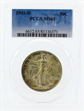 1941-D Walking Liberty Silver Coin PCGS MS65